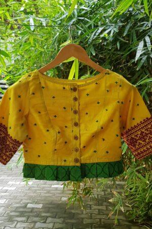 YEllow tussar kutch work blouse1