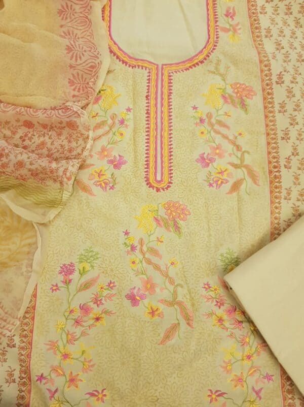 Yellow and pink embroidered suit set