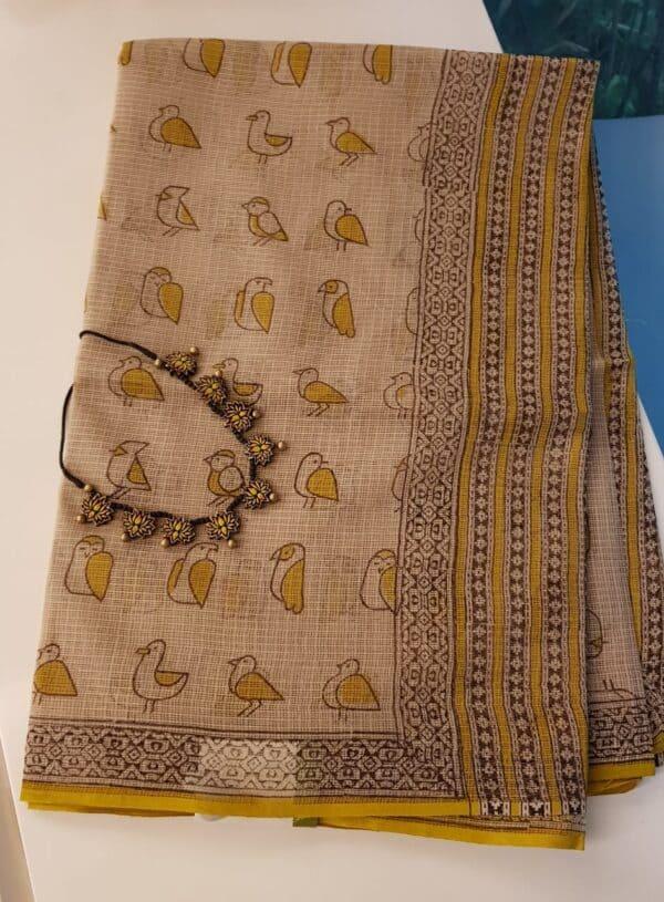 Yellow chidiya saree