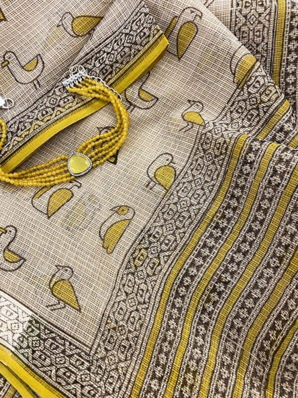 Yellow chidiya saree1