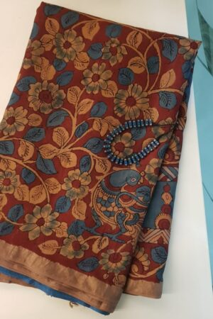 Zari border tussar saree with kalamkari