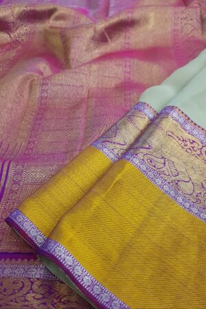 greige chiffon with violet border