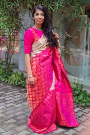 iced mocha and pink half and kanchi silk saree