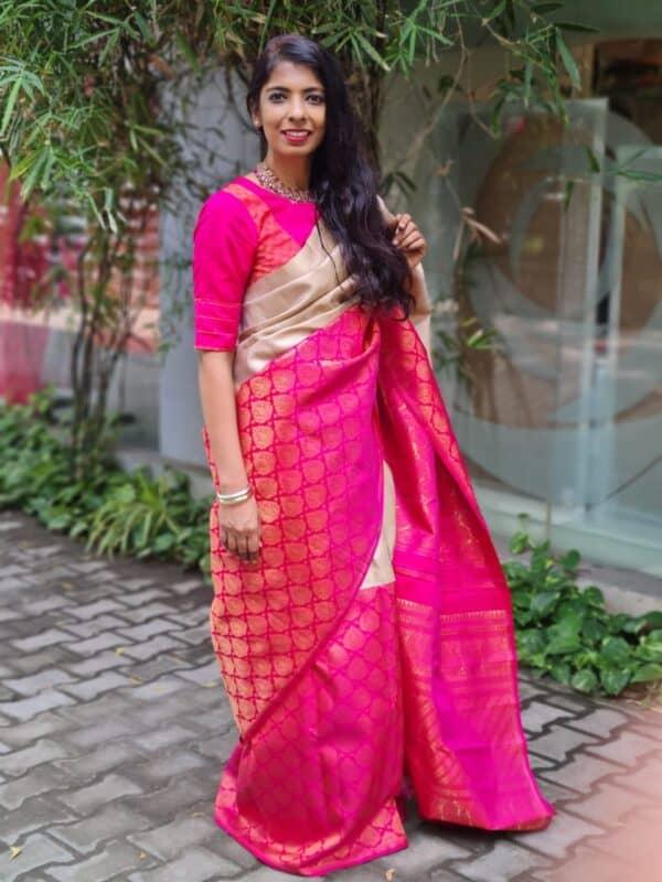 iced mocha and pink half and kanchi silk saree