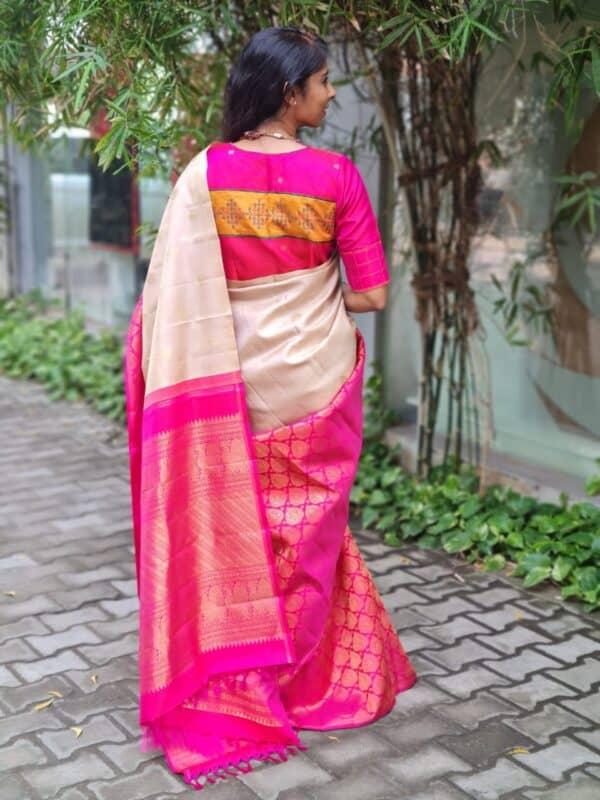 iced mocha and pink half and kanchi silk saree1