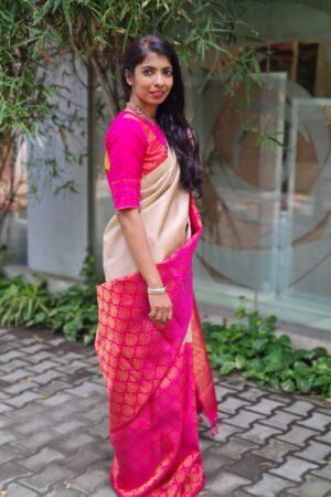 iced mocha and pink half and kanchi silk saree2