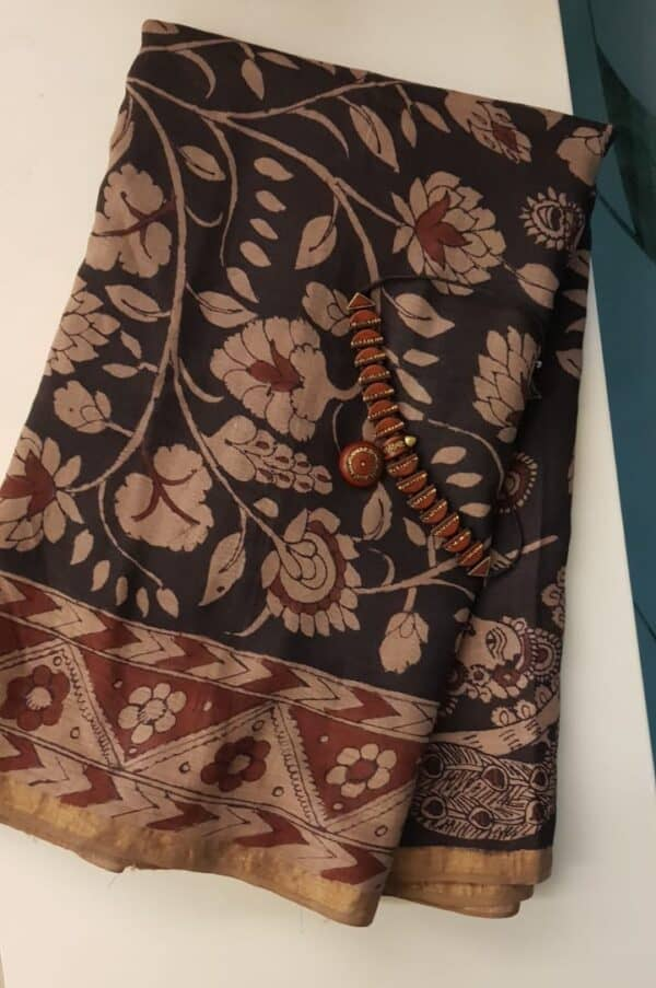 kalamkari painting on tussar saree