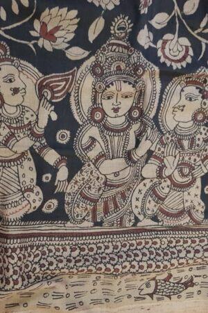 kalamkari painting on tussar saree1