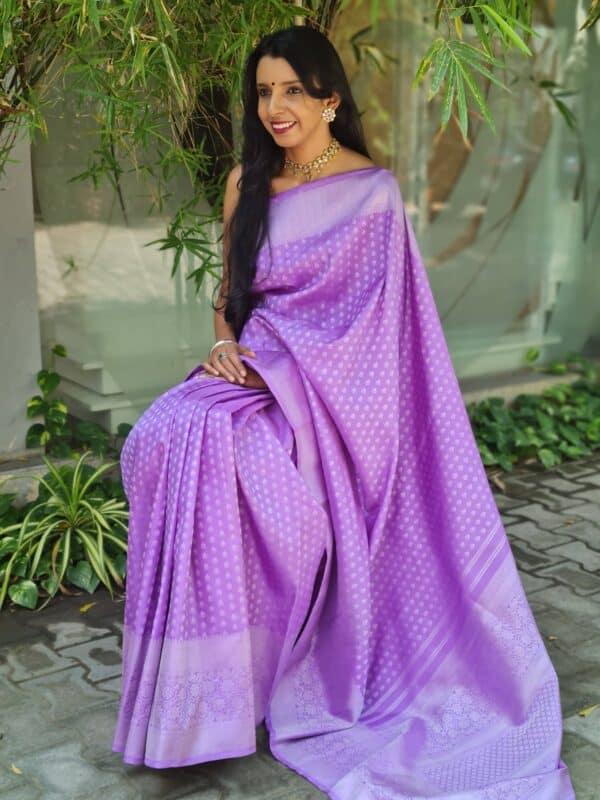 purple with silver zari