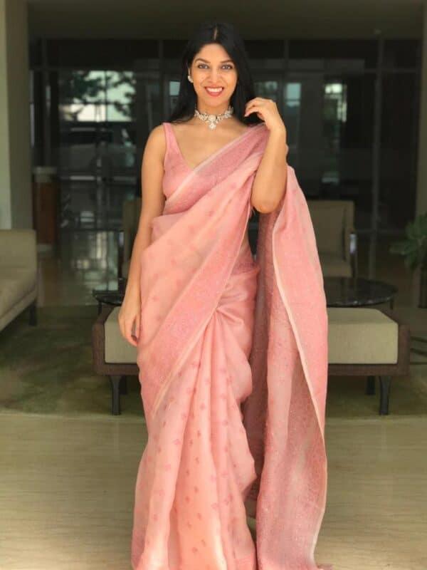 stylewali dusty pink organza kutch work saree