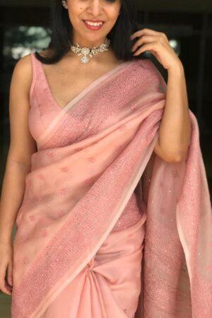 stylewali dusty pink1 kutch work organza saree