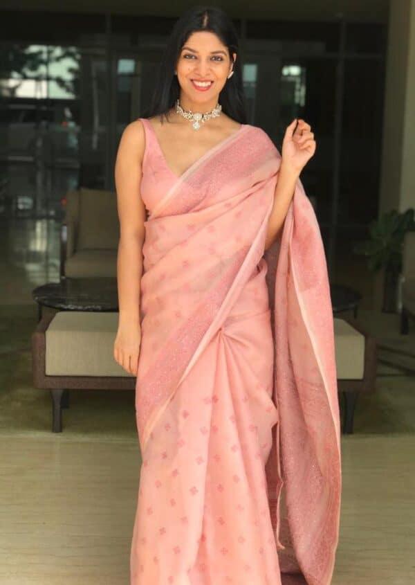 stylewali dusty pink2 kutch work organza sari