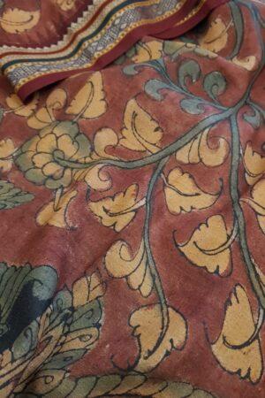 subhadra maroon hand painted vidarbha tussar saree 3