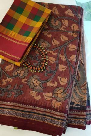 subhadra maroon hand painted vidarbha tussar saree