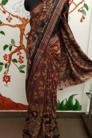 subhadra maroon hand painted vidarbha tussar saree 5