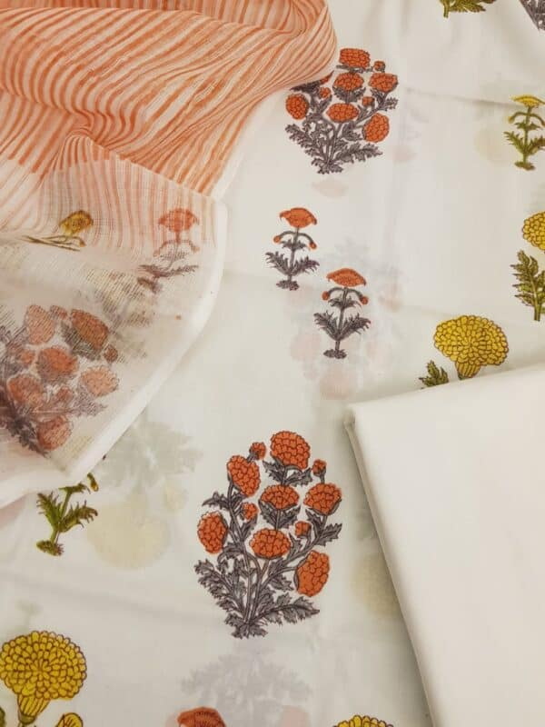 white with orange and yellow prints