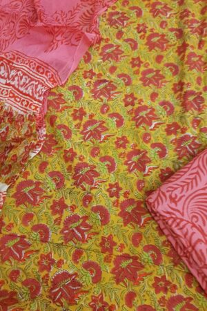 yellow and red cotton suite