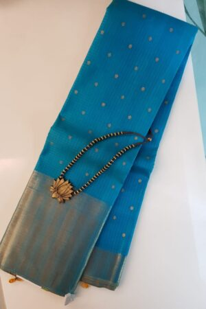 Ananda blue kanchipuram silk sar1