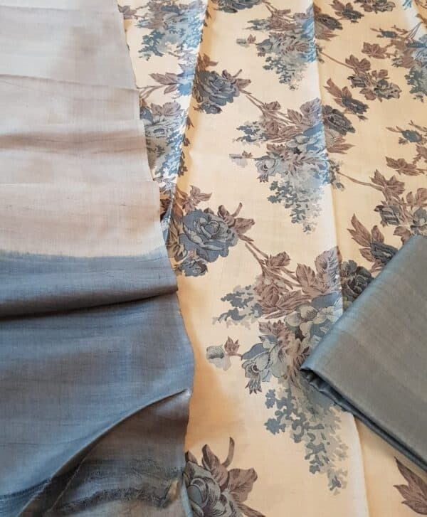 Beige and grey tussar set