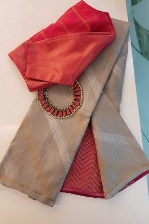 Beige leheriya design kanchipuram silk saree