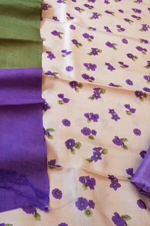 Beige with purple tussar set