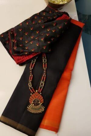 Black and orange half and half kanchipuram silk saree