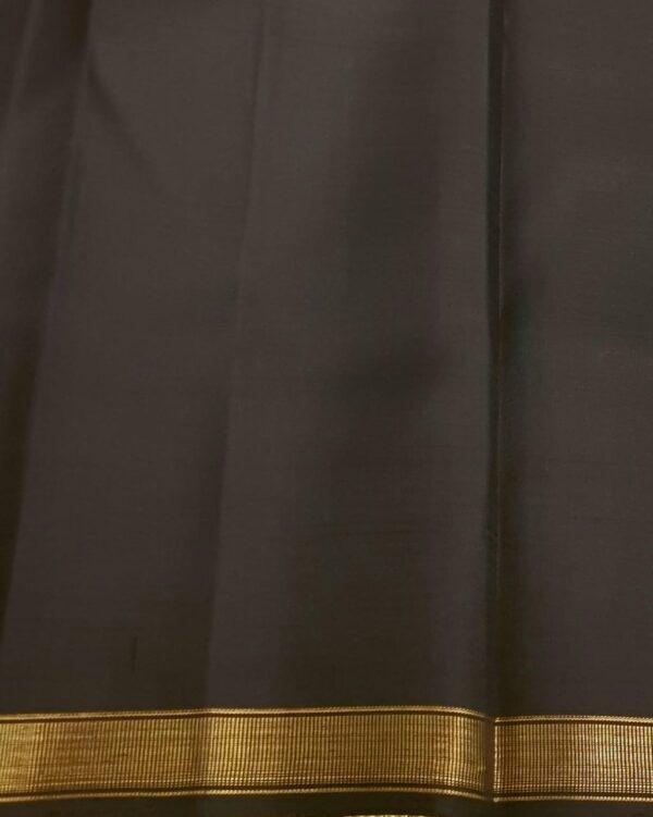 Black and orange half and half kanchipuram silk saree1