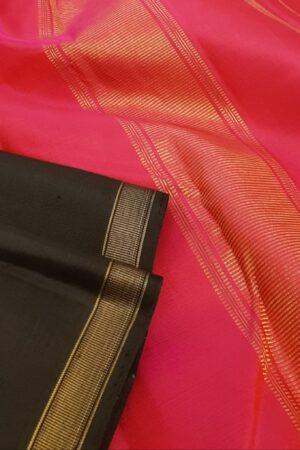 Black and orange half and half kanchipuram silk saree2