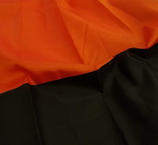 Black and orange half and half kanchipuram silk saree3