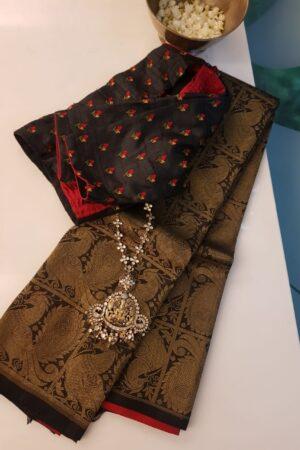 Black and red half half kanchi silk saree