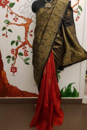 Black and red half half kanchi silk saree4