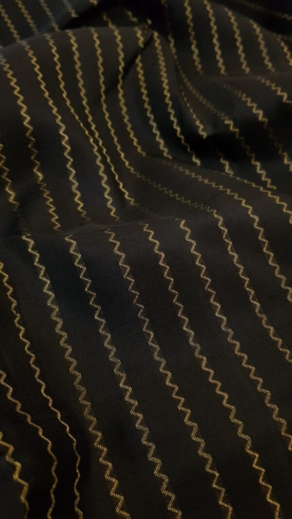 Black kanchipuram silk saree with vanki lines1