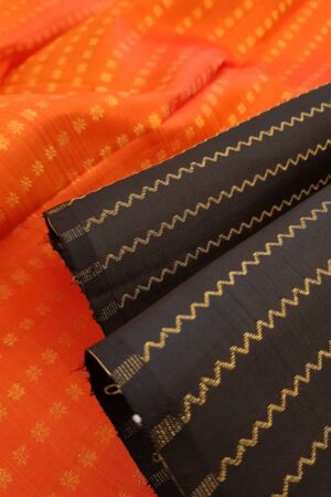 Black kanchipuram silk saree with vanki lines2