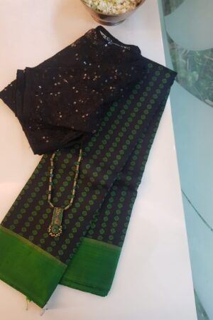 Black with green border kanchi silk saree