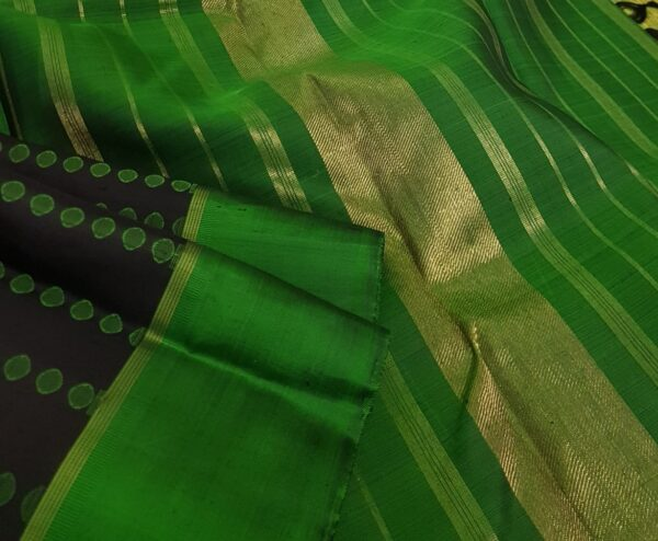 Black with green border kanchi silk saree2