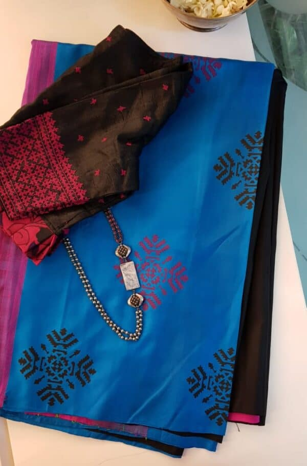 Blue and black printed silk saree