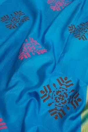 Blue and black printed silk saree1