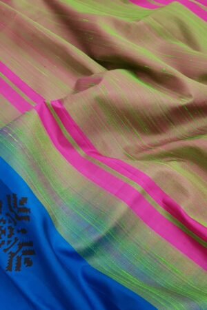Blue and black printed silk saree4