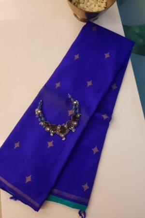 Blue and teal half and half kanchi silk saree