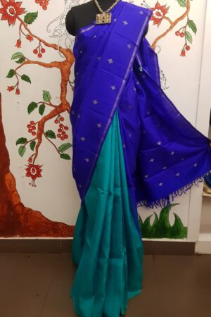 Blue and teal half and half kanchi silk saree1