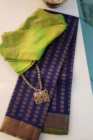 Blue silk saree mayil chakram