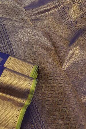 Blue silk saree mayil chakram2