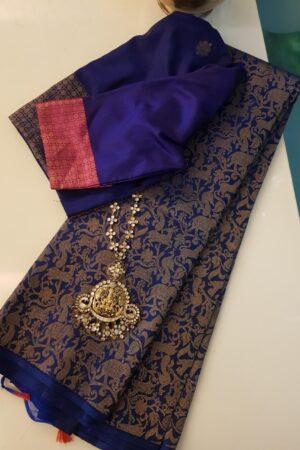 Blue vanasingaram kanchi silk saree