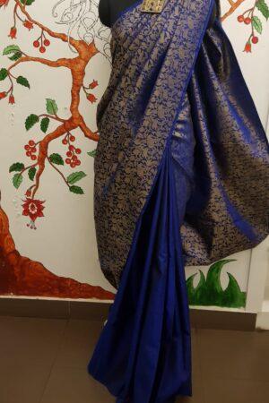 Blue vanasingaram kanchi silk saree3