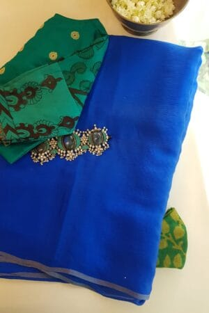 Blue wrinkle crepe saree