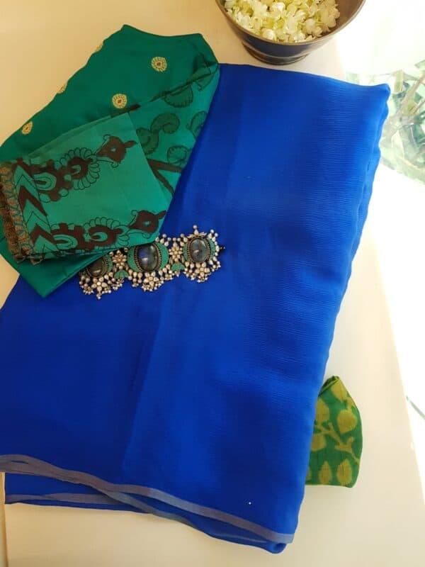 Blue wrinkle crepe saree