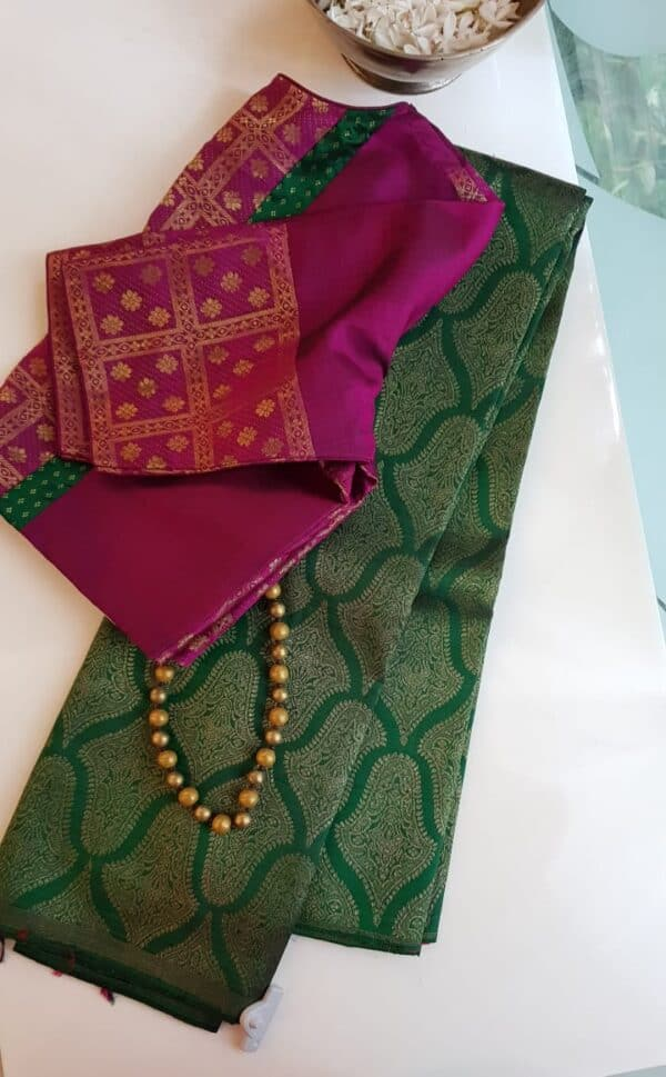 Bottle green and pink half and half kanchi silk saree