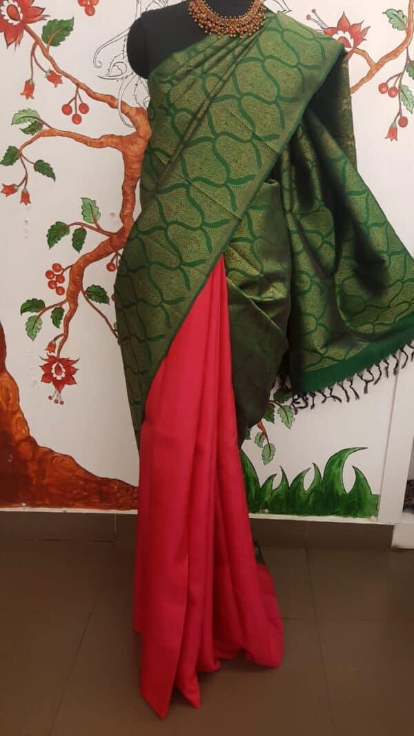 Bottle green and pink half and half kanchi silk saree3