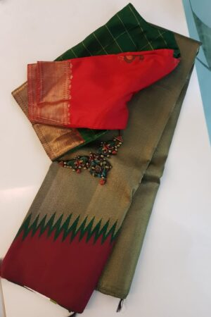 Bottle green and wine rising border silk saree