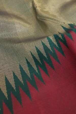 Bottle green and wine rising border silk saree2